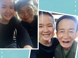 Hình ảnh xúc động: Sợ cháu vất vả, bà ngoại 75 tuổi một mình trèo cây thu hoạch quả