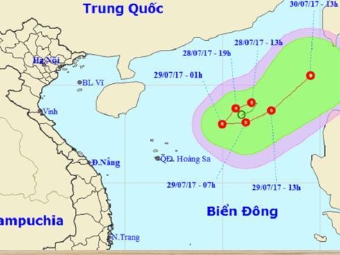 Áp thấp nhiệt đới chuyển hướng 180 độ, đi sâu vào Biển Đông