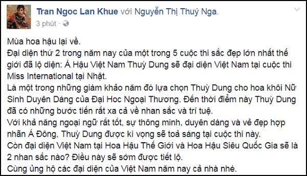 Không còn là tin đồn, Á hậu Thùy Dung chính thức đại diện Việt Nam thi Miss International 2017-1