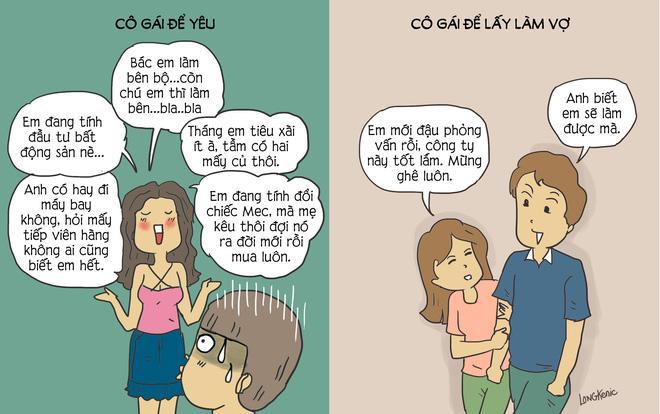 Tranh vui: Khác biệt 'nhìn tận mắt' giữa cô gái để yêu và cô gái để lấy làm vợ-3