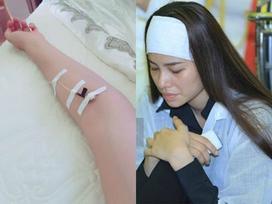 Hoa hậu Phạm Hương suy sụp, nhập viện truyền nước sau đám tang bố