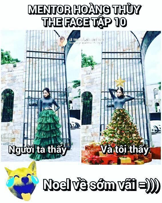 Dù bị ví là cây thông Noel, Hoàng Thùy vẫn được khen tới tấp nhờ mặc đẹp trong The Face tập 10-4