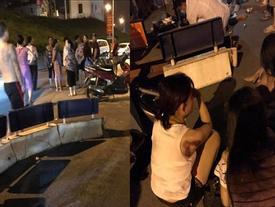 Xe máy 'kẹp' 5 tông dải phân cách, 4 cô gái trẻ văng tứ tung