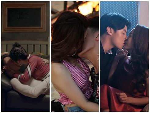 Những màn 'khóa môi' nóng bỏng của Rocker Nguyễn khi 'cân' bộ ba mỹ nhân Việt