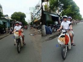 Thủy Tiên - Công Vinh đèo nhau tình cảm trên xe máy, đi làm từ thiện tại quê nhà