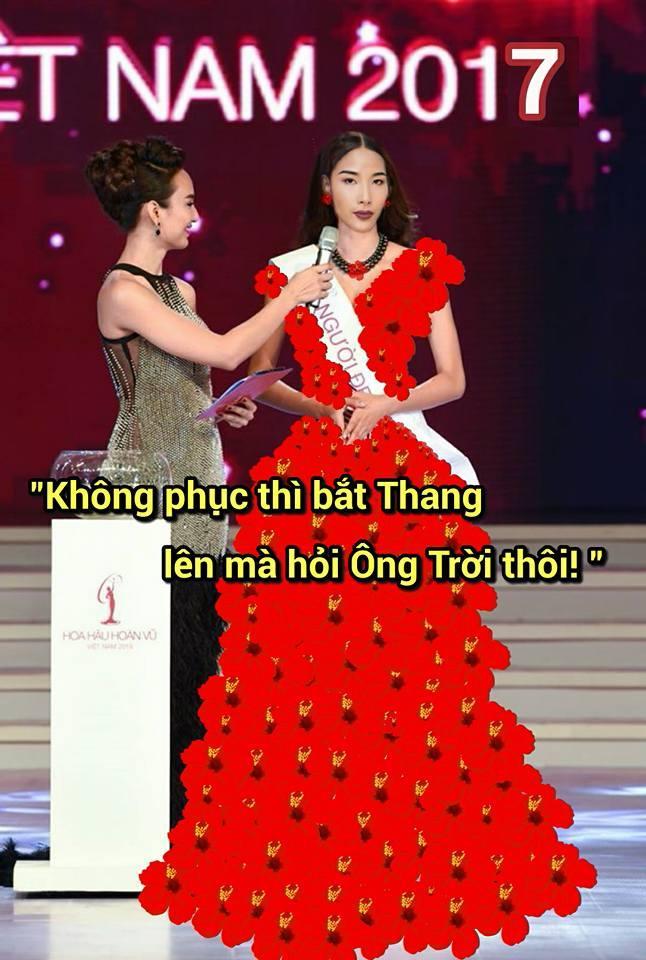 Ảnh chế Hoàng Thùy thi Hoa hậu Hoàn vũ Việt Nam mặc váy hoa dâm bụt và ứng xử bằng ca dao-9