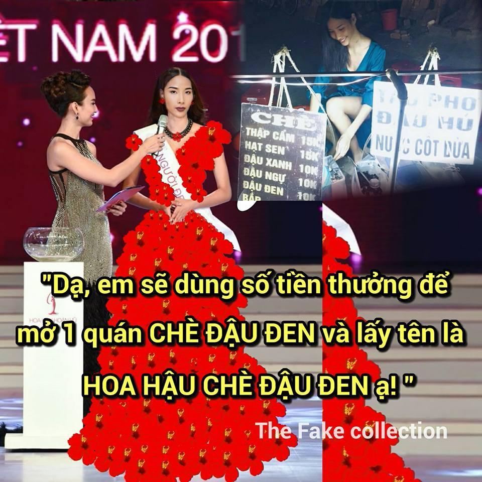 Ảnh chế Hoàng Thùy thi Hoa hậu Hoàn vũ Việt Nam mặc váy hoa dâm bụt và ứng xử bằng ca dao-11