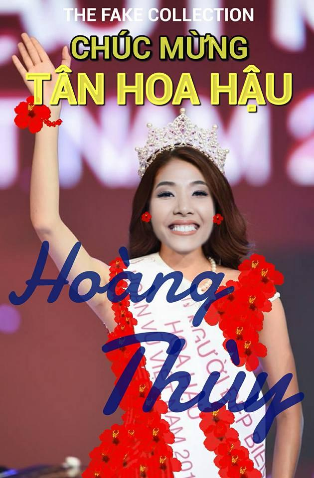 Ảnh chế Hoàng Thùy thi Hoa hậu Hoàn vũ Việt Nam mặc váy hoa dâm bụt và ứng xử bằng ca dao-14