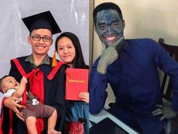 Nam sinh Bách khoa nhận bằng tốt nghiệp loại giỏi bên vợ và con trai