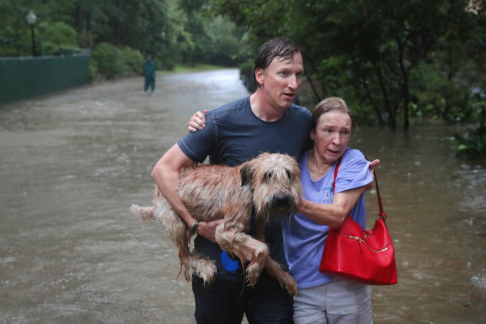 Andrew White helps a neighbor down a street after rescuing her and her dog in Houston on Aug. 27.