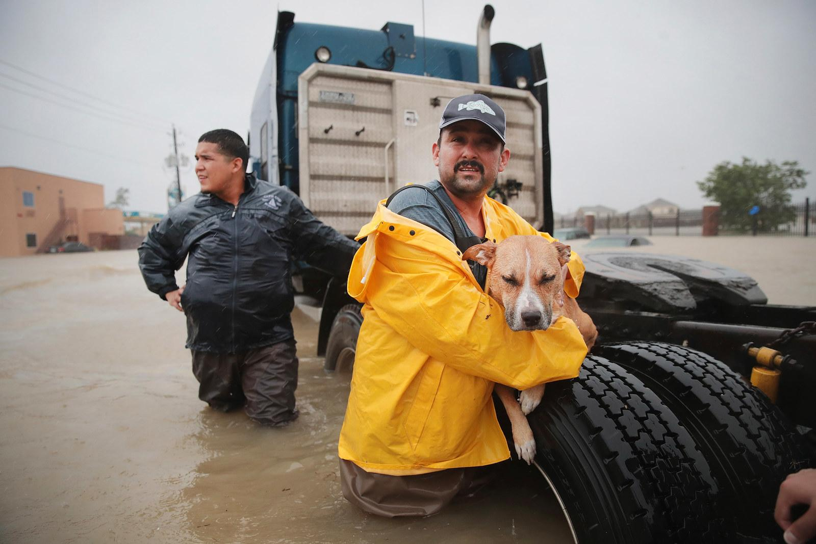 A man holds a rescued dog as he makes his way out of a flooded neighborhood in Houston on Aug. 28.