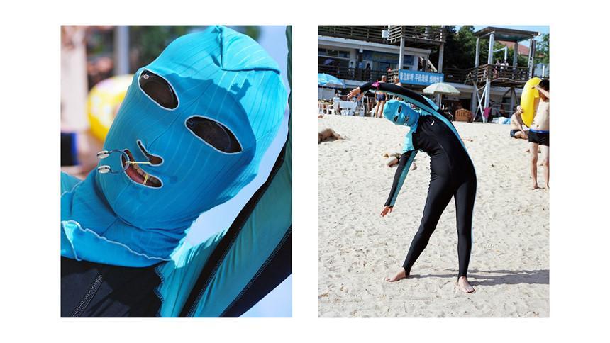 Áo tắm che kín mặt: Đặc sản ở bãi biển Trung Quốc-3
