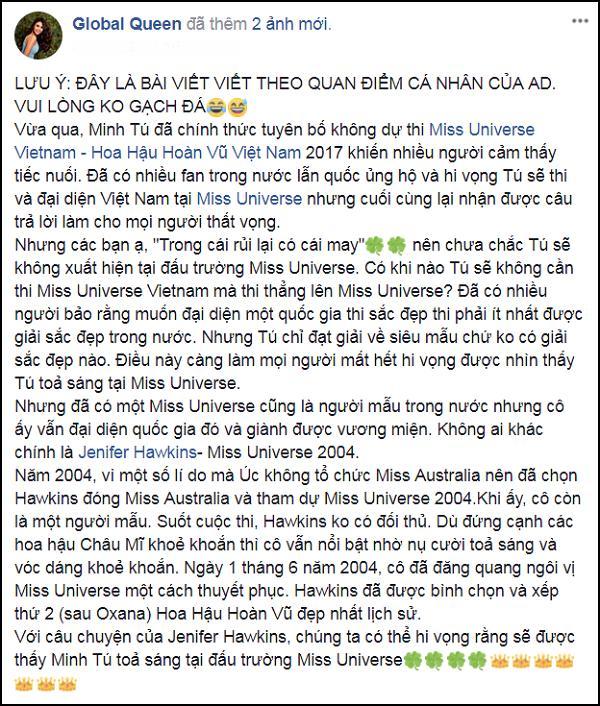 Không cần thi quốc gia, Minh Tú được xuất khẩu thẳng đến Hoa hậu Hoàn vũ Thế giới 2017?-2
