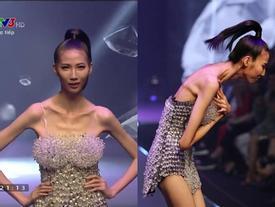 Cao Ngân như 'bộ xương di động' đi catwalk trong đêm chung kết Next Top mùa All Stars