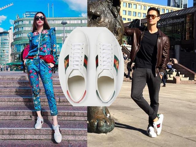 Hà Hồ - Kim Lý là tín đồ của thương hiệu Gucci. Đôi giày Gucci Sneaker bassa Ace ricamata mà cả hai cực kì yêu thích có giá khoảng 13 triệu đồng.