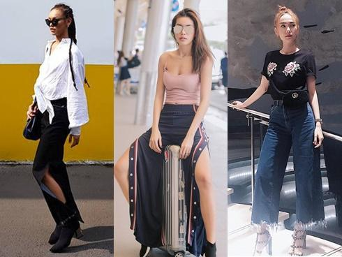 Không hẹn mà gặp, Mai Ngô - Minh Tú diện street style với mốt quần xẻ cao 'chất phát ngất'