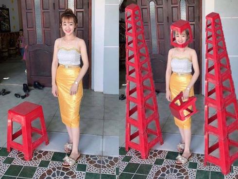 Cười ngất với cái kết hot girl lên mạng nhờ các 'thánh photoshop' xóa chiếc ghế đỏ