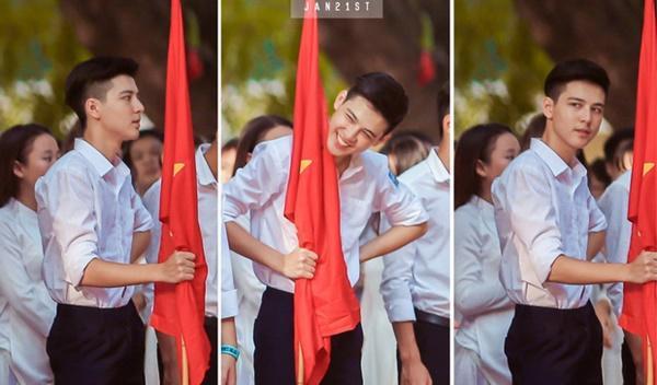 Hot boy cầm cờ: Mình nghĩ mình chưa đủ độ đẹp để nhận cái tên này-1