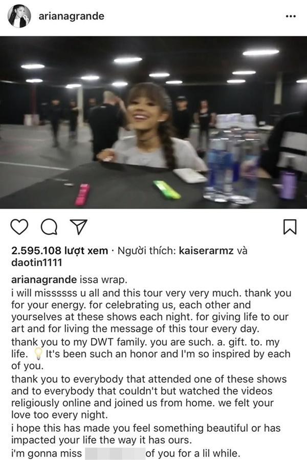 Ariana Grande viết tâm thư cảm ơn fan sau khi kết thúc tour diễn-1