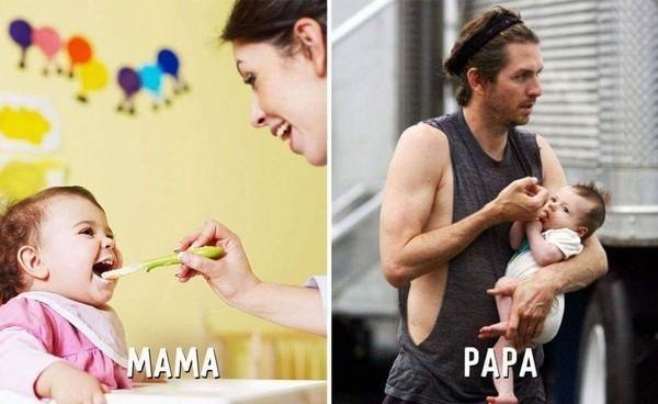 Ảnh hài: Sự khác biệt không tưởng giữa bố và mẹ khi trông con-6