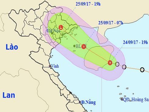 Dự báo thời tiết 25/9: Áp thấp nhiệt đới vào bờ, miền Bắc mưa to