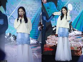 Khó hiểu kiểu trang phục váy trong rồi lại váy ngoài của Dương Mịch