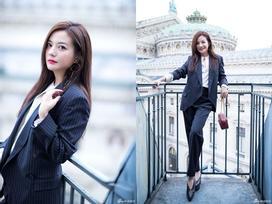 Đột nhiên chuyển sang phong cách menswear, Triệu Vy thu hút 'rừng' ống kính tại Paris