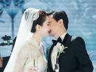 Khóc chào mẹ, Thu Thảo nắm chặt tay, hôn chồng đại gia say đắm trong tiệc cưới