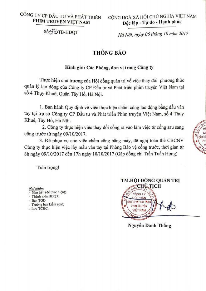 Chấm công lao động nghệ sĩ Hãng phim truyện Việt Nam bằng dấu vân tay-1