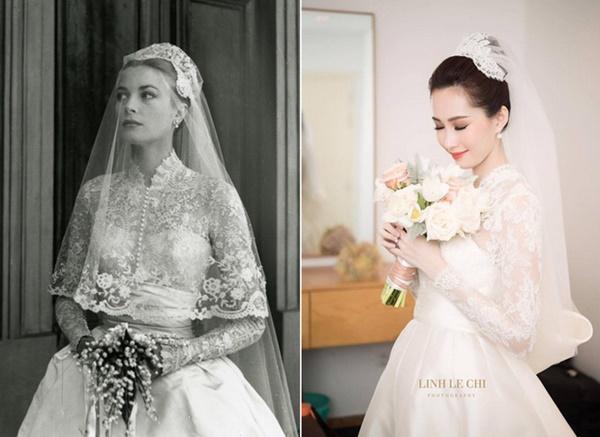 Bạn có nhận ra váy cưới của Hoa hậu Thu Thảo giống váy cưới của Công nương Grace Kelly đến bất ngờ?-5