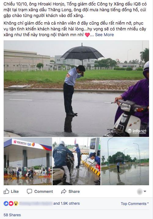 Hình ảnh được chia sẻ nhiều nhất hôm nay: Ông chủ người Nhật đội mưa, cúi gập người chào khách-1