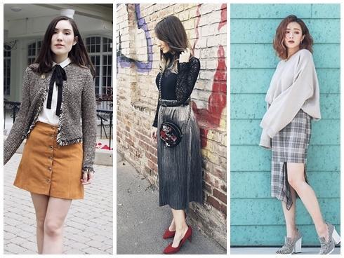 Mặc đẹp miễn chê với mọi loại chân váy mùa thu đông