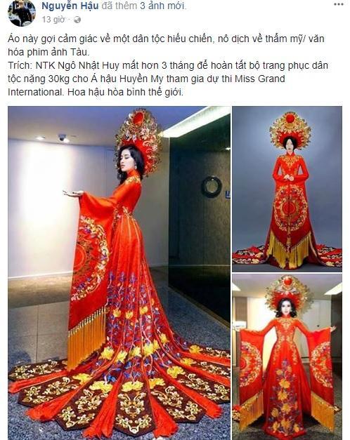 Trang phục dân tộc của Á hậu Huyền My ở Miss Grand International 2017 gây tranh cãi-3
