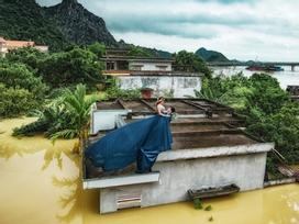 Cặp đôi Ninh Bình leo lên nóc nhà chụp ảnh cưới 'chạy lũ' gây sốt mạng xã hội