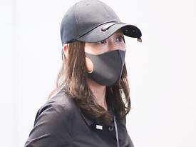 Trần Kiều Ân mặc đồ đen kín, tiều tụy xuất hiện tại sân bay