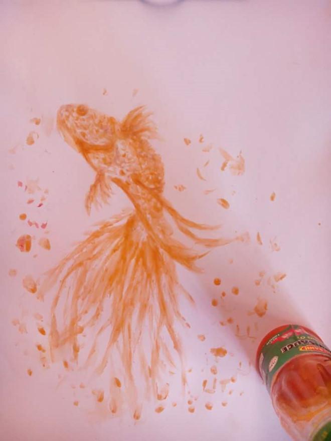 9X vẽ tranh sống động bằng tương ớt và cà phê-2