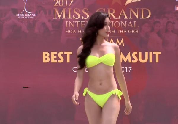 Chỉ cần đánh hông thêm chút nữa, Huyền My chắc chắn sáng nhất màn diễn bikini tại Hoa hậu Hòa Bình 2017-2