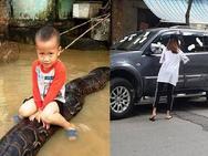 Ảnh hot trong tuần: Cô gái dán băng vệ sinh lên ôtô 'dằn mặt' tài xế vô ý thức, cậu bé Thanh Hóa cưỡi trăn gây bão mạng