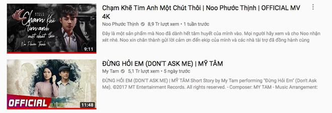Noo Phước Thịnh chính thức vượt mặt Mỹ Tâm trên YouTube-1