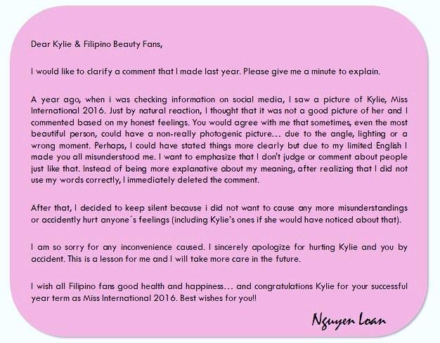 Trước ngày thi Miss Universe, Nguyễn Thị Loan bất ngờ viết tâm thư xin lỗi Hoa hậu Quốc tế 2016-5