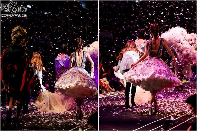 Hà Hồ chỉnh váy cho người mẫu, bị khán giả vây kín phố đi bộ-10