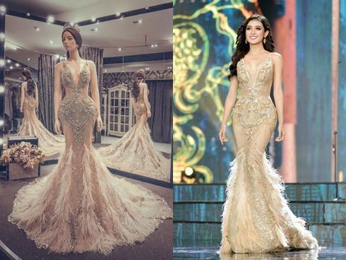 Cận cảnh chiếc váy gắn hàng chục nghìn viên pha lê của Huyền My