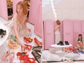Mỗi lần Ngọc Trinh dọn dẹp tủ giày là chị em lại choáng váng vì hàng hiệu 'chất như núi'