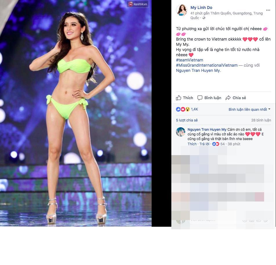 Bận rộn tại Miss World, Đỗ Mỹ Linh vẫn không quên ủng hộ tinh thần Huyền My trong đêm chung kết HH Hoà bình 2017-1