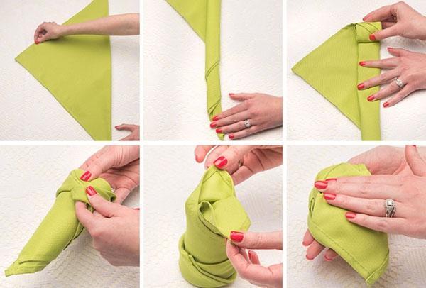 3 cách gấp khăn ăn trang trí bàn ăn đẹp tinh tế-4