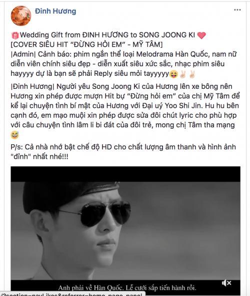 Chết cười xem Đinh Hương mượn hit Mỹ Tâm làm quà cưới tặng Song Joong Ki-1