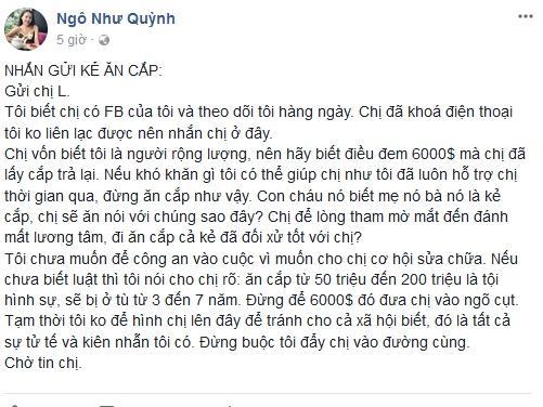 Bị phụ lòng tốt, MC tuyển chồng Quỳnh Scarlet dằn mặt kẻ đánh cắp 6.000 USD-1