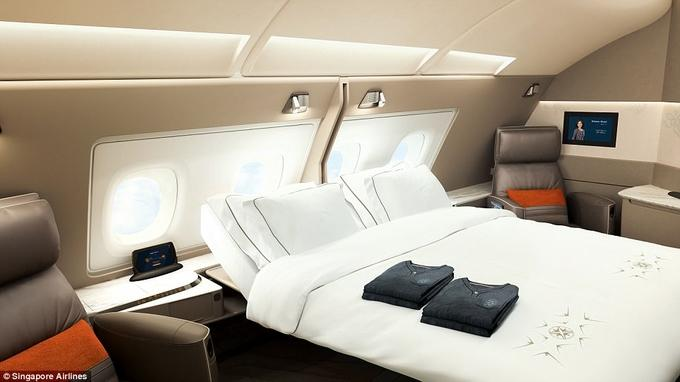 Khoang máy bay giường đôi như phòng khách sạn-1