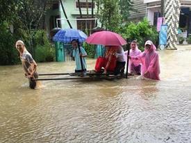 Chú rể kéo xe bò rước dâu trong mưa lũ hậu bão số 12 gây sốt mạng xã hội