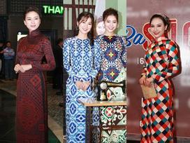 Dàn mỹ nhân Việt rực rỡ với áo dài họa tiết tham dự ra mắt phim 'Cô Ba Sài Gòn'